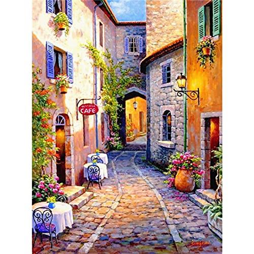 Paisaje de pintura de diamante redondo casa 5D bordado de diamantes calle paisaje punto de cruz decoración del hogar regalos