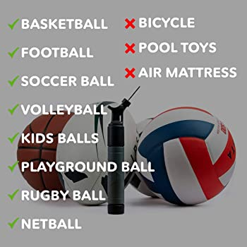 Sports Stable Ball Pump with 5 Needles. Dual-Action Air Pump for Your Basketball, Football, Soccer Ball, Volleyball, ...