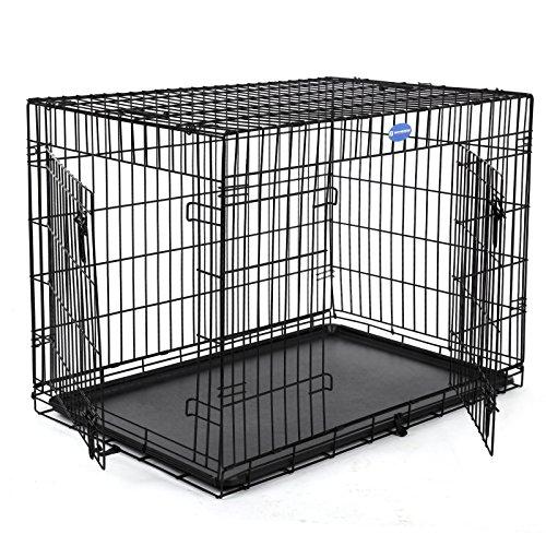 Songmics Metall Käfig für Hunde transportín faltbar für Haustiere 122x 76x 81cm ppd48h