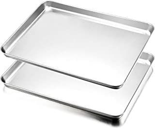 Cookie Sheet Set of 2, E-far Baking Sheet Pan Stainless Steel Oven Tray, 16 x 12 x 1 inch Rectangle Size, Rust Resistance & Easy Clean, Dishwasher Safe - 2 Pieces