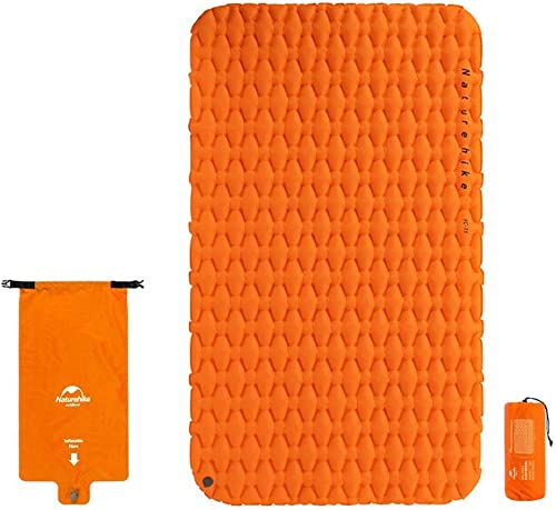 WYFDM Tapis Gonflable de gonflage avec airbag Sac imperméable en Plein air Double Matelas de Couchage Tente Tapis de Camping Coussin Compact avec Sac de Transport pour 2 Personnes,Orange
