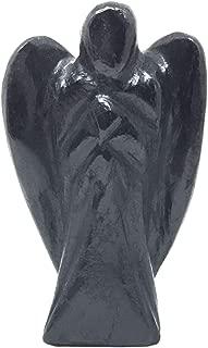 Nelson Creations, LLC Black Tourmaline Hand-Carved Natural Gemstone Crystal Healing Angel Figurine Statue, 2 Inch