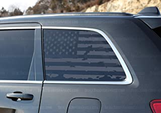 Skull Daddy Graphics Distressed USA Window Flags to fit Jeep Grand Cherokee WK2 2011-2019 (Driver Side)