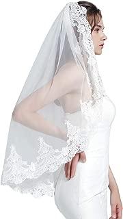 Wedding Bridal Veil with Comb 1 Tier Lace Applique Edge Fingertip Length 36