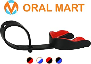 Oral Mart Sports Mouth Guard with Strap (6 Best Colors & USA Flag) (Football/Lacrosse/Ice Hockey) - Strapped Mouthguard for Football, Ice Hockey, Lacrosse, College Football (/w Vented Case)