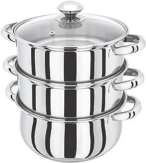 Juego de 3 ollas de acero inoxidable para cocinar al vapor o cocinar con tapas de cristal