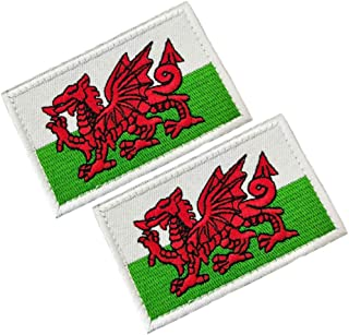 HFDA 2 Piece Different Country Flags Patch - Tactical Combat Military Hook and Loop Badge Embroidered Morale Patch (Welsh)