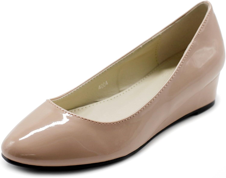 Ollio Woherrar skor Enamel Patent Ballet Basic ljus ljus ljus Comfort Wedge Heel Pump  rabatt lågt pris