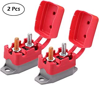 Ampper DC 12V - 24V Automatic Reset Circuit Breaker with Cover Stud Bolt for Automotive and More (20A, 2Pcs)