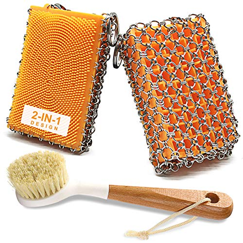 Cast Iron Skillet Cleaner and Cast Iron Brush, 316 Stainless Steel Chainmail Scrubber Built-in Silicone Scrubber, Metal Sponge and Long Handle Brush for Cast Iron Pan, Baking Pan, Skillet, Pot