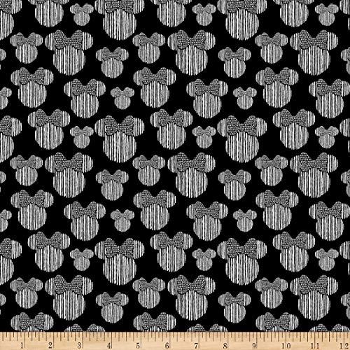 Disney Minnie Heads Black Quilt Fabric (0725064)