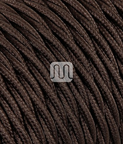 Cavo Elettrico Treccia/Trecciato Rivestito in Tessuto. Colore Marrone. Sezione 2x0.75 - 10 Metri