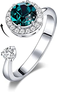 Rotating Birthstone Rings for Girls Womens Birthday Valentine Jewelry Gift Embellished with...