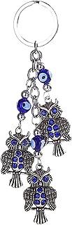 Prettyia Owl Blue Eye Keychain Key Chain Rings Bags Car Charm Pendant Decorations
