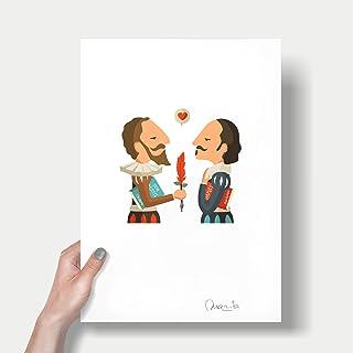 """Stampa"""" Shakespeare e Cervantes"""". Disponibile in due misure: A4 / A3."""