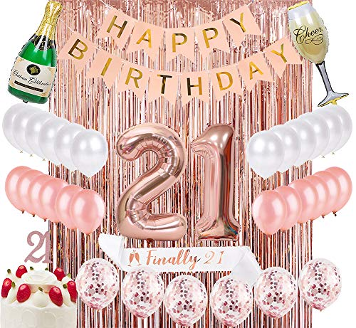 Sllyfo 21st Birthday Decorations Party Supplies Kit - 21st Birthday Gifts for her,21st Cake Topper|Banner|sash|Rose Gold Curtain Backdrop Props|Confetti Balloons|Champagne Balloon. (21)