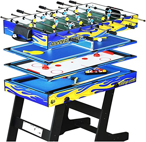 Lcyy-game 4-en-1 Multi-Fonction Pliage Table de ping Pong Table de Hockey sur Glace Table de  -Foot Table de Jeu pour Les Enfants et Les Adultes avec des queues, Boule, Craie, Rack, Brosse
