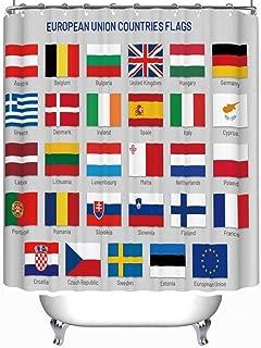 YOLIYANA European Union Countries Flags Europe Travel Shower Curtain Cactus Shower Curtain 71''Long x 59''Wide