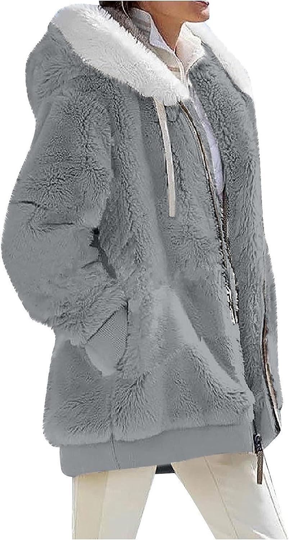 Women Fleece Jacket Soft Plush Winter Hooded Coat Oversized Loose Full-Zip Fashion Down Jacket Cardigans with Pockets