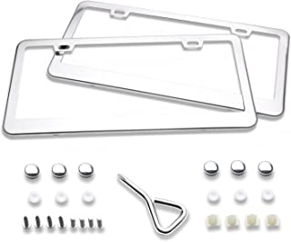 Ohuhu License Plate Frame, 2 Pcs Stainless Steel Polish Mirror License Plate Frames with Chrome Screw Caps - 2 Holes Car License Plate Covers for US Vehicles