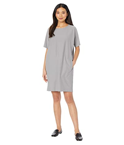 Eileen Fisher Round Neck Short Sleeve Dress (Zinc) Women
