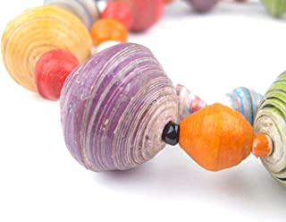 Recycled Paper Bead Necklace from Uganda - Fair Trade African Woman's Jewelry - Necklace with Clasp (Multicolor)