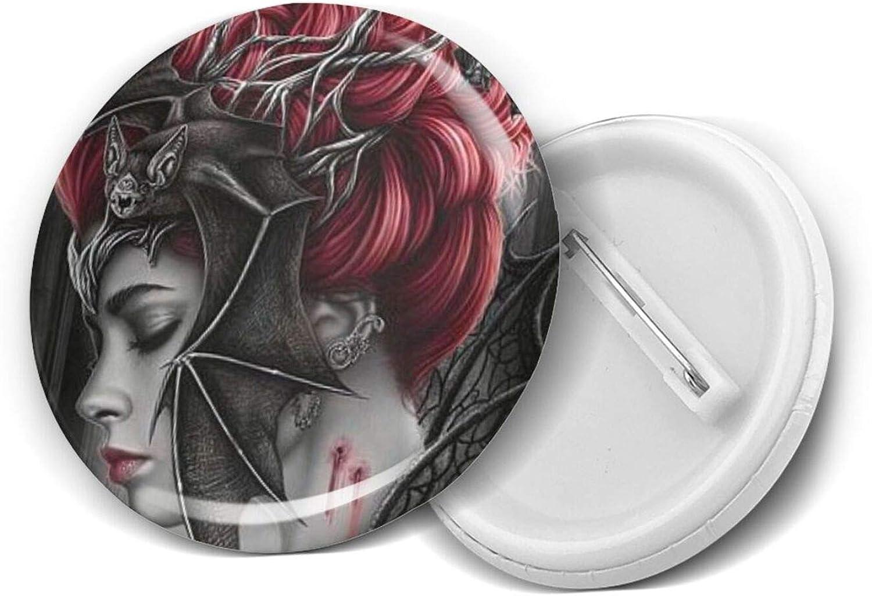 Goth Gothic Halloween Bat Girls Round Brooch Badge Pins For Women Men Girls T Shirt Bag Backpacks Hat Accessories