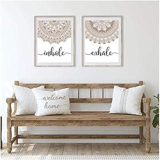 Cjyrjcc Bohemian Exhale Inhale Mandala Mindfulness Zen Wall Art Print Poster Picture Canvas Painting Yoga Room Living Room...