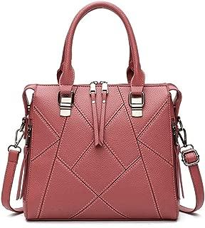 Fine Bag/Handbag Lychee Stitching Large Capacity PU Women's Bag Shoulder Bag Fashion Commuter Messenger Bag Multi-Pocket Capacity (Color : Bean Paste, Size : Onesie)
