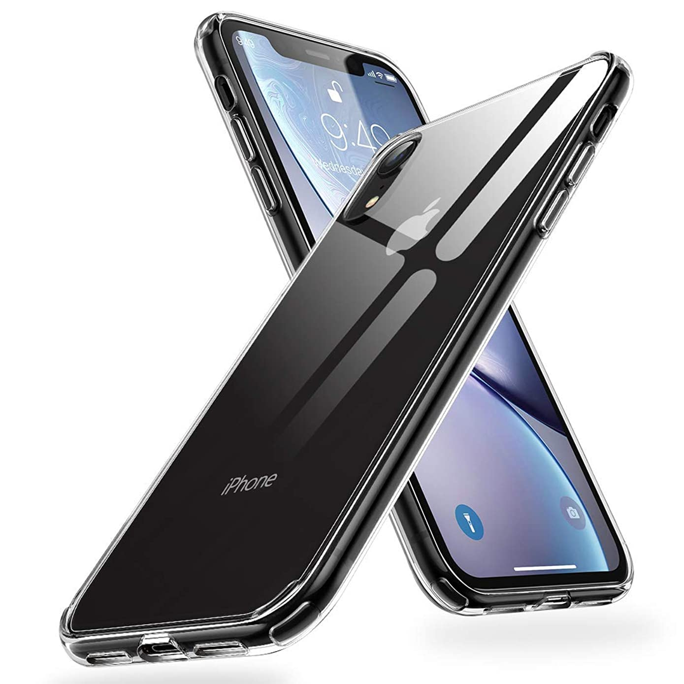 Humixx Crystal Clear iPhone XR Case,[Wireless Charging Supported] Bayer Material TPU Backboard Case with Soft Edges, Shockproof and Anti-Drop Protection Case Designed for Apple iPhone Xr(2017)-Clear