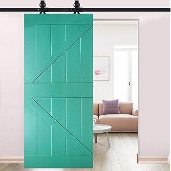 Rodillo para colgar puertas, color negro, para puerta corredera de madera de granero, barra deslizante de acero con raíl antiguo: Amazon.es: Bricolaje y herramientas