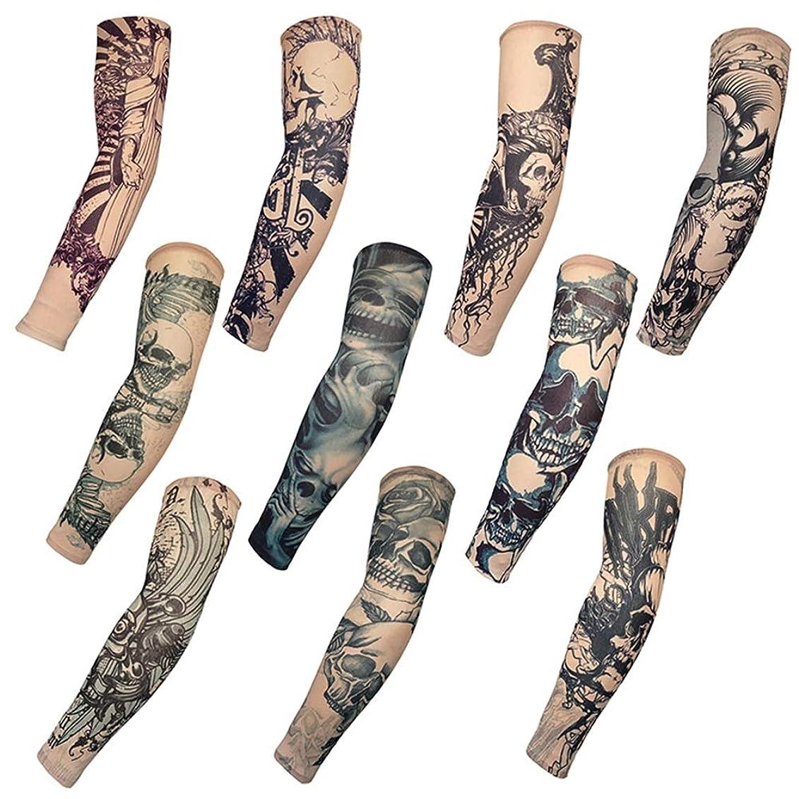 ピースハック一掃する10ピースタトゥースリーブフェイクタトゥーアームカバー一時的な入れ墨日焼け止めスリーブボディアートアームプロテクター日焼け止め男性と女性,Skeleton