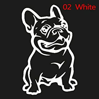 RUNGAO Cute Adhesive Custom 3D Car Sticker French Bulldog Dog/Pet Vinyl Car Decal Decor White