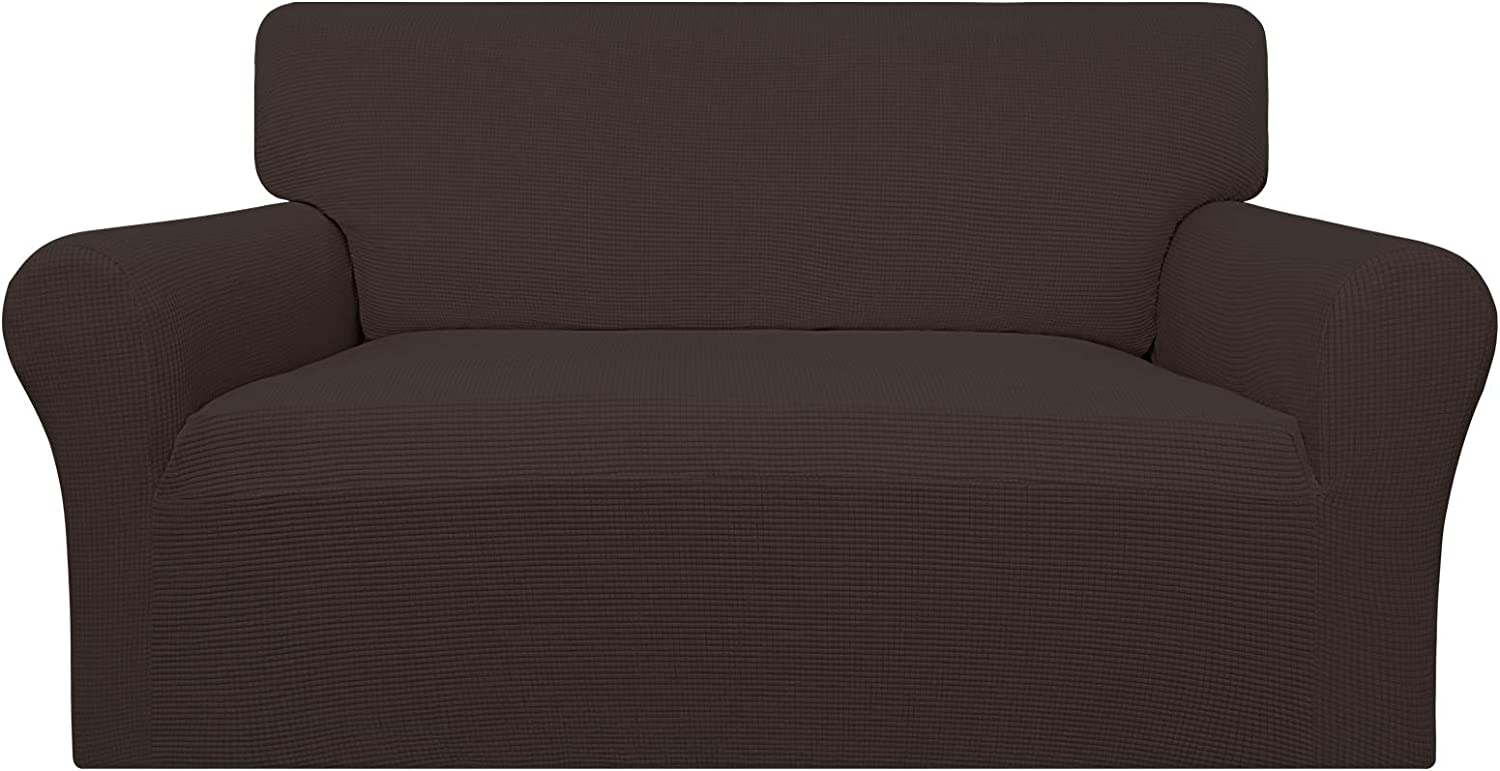 Easy-Going 100% Waterproof Loveseat Couch Cover, Dual Waterproof Sofa Cover, Stretch Jacquard Sofa Slipcover, Leakproof Furniture Protector for Kids, Pets, Dog and Cat ( Loveseat, Chocolate)