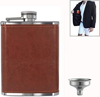 Pocket Hip Flask 8 oz with Funnel, Alcohol Flask, Liquor Flask,18/8 Stainless Steel Brown/Black Leather Pocket Drinking Flask, 100% Leak Proof, For Liquor Shot Drinking (Brown)