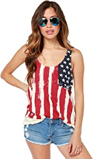 Women American Flag Tops – Summer Plus Size National Flag Print Lace O-Neck Casual Tank Tops Blouse Shirt