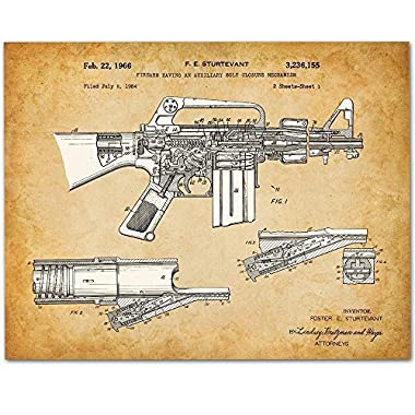 M-16 Rifle - 11x14 Unframed Patent Print - Great Gift for Military Soldiers/Veterans or Gun Enthusiasts