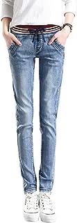 [コウサ] cousa ダメージ ジーンズ ウエスト ゴム デニム ロング パンツ 長ズボン ボトムス レディースファッション
