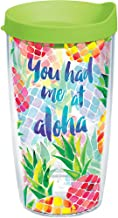 Tervis 1216530 You Had Me at Aloha Tumbler with Wrap and Lime Green Lid 16oz, Clear