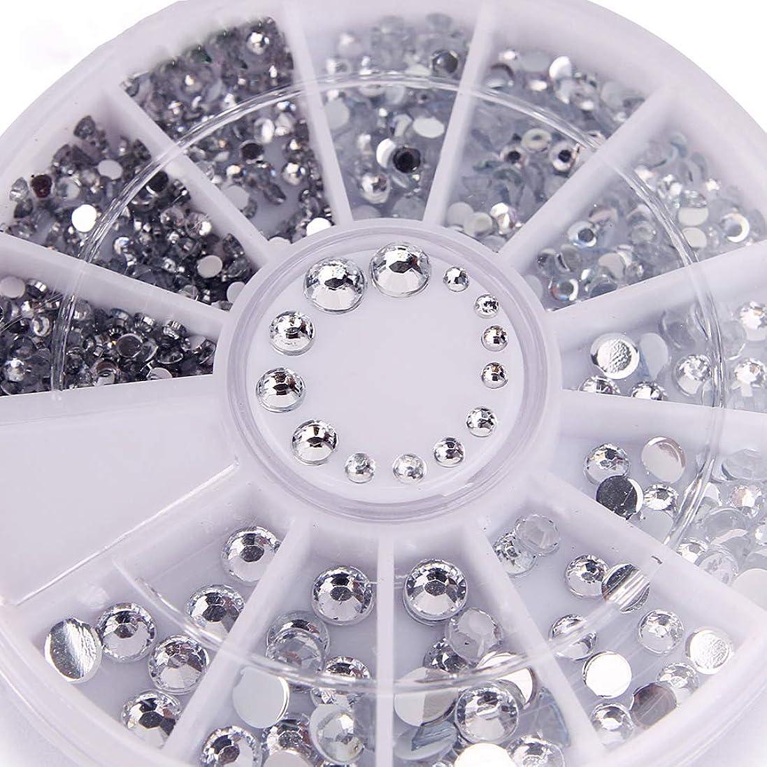 絡まるアームストロング動揺させる400個ネイルラインストーンミックスシルバーラウンドダイヤモンド形状1.2mm/2mm/3mm/4mm 3DネイルデコレーションアクリルUVジェル