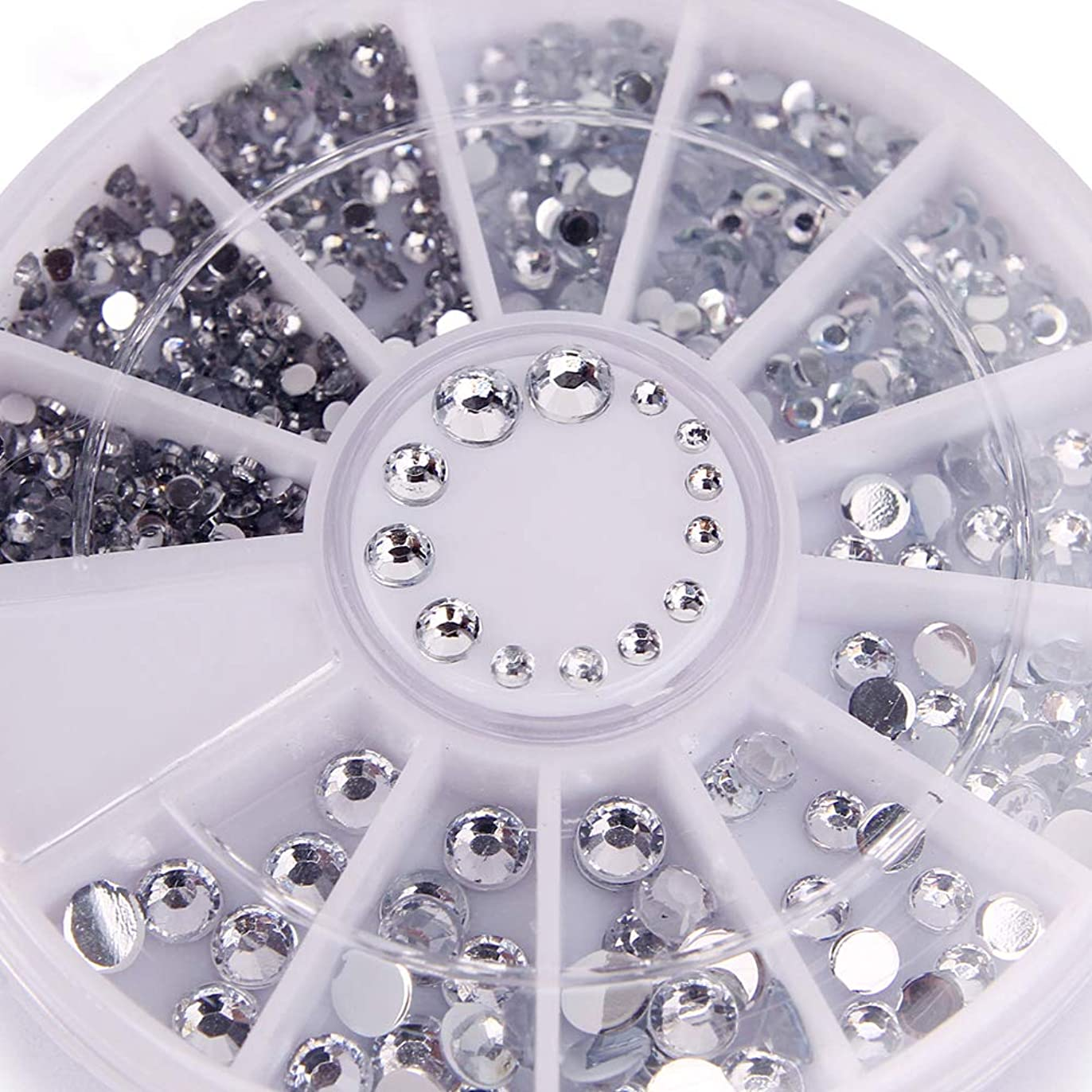 後ろ、背後、背面(部答え供給400個ネイルラインストーンミックスシルバーラウンドダイヤモンド形状1.2mm/2mm/3mm/4mm 3DネイルデコレーションアクリルUVジェル
