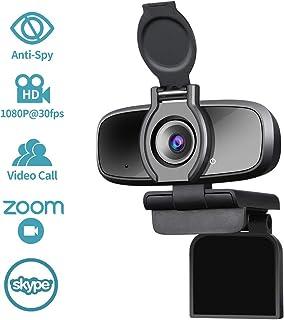 Dericam Cámara web USB HD 1080P para videollamadas,juegos y transmisión en vivo con micrófono con cancelación de ruido y obturador de privacidad