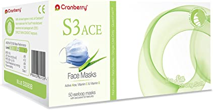 S3080B Cranberry Series S3080 Ace Earloop Face Mask, Blue (Pack of 50)