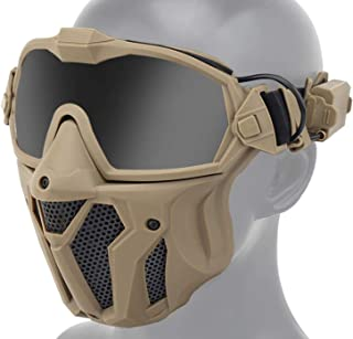 JFFCESTORE Tactical Airsoft Mask Full Face Protective Mask with Detachable Anti Fog Goggles Minitype Exhaust Fan Replace L...