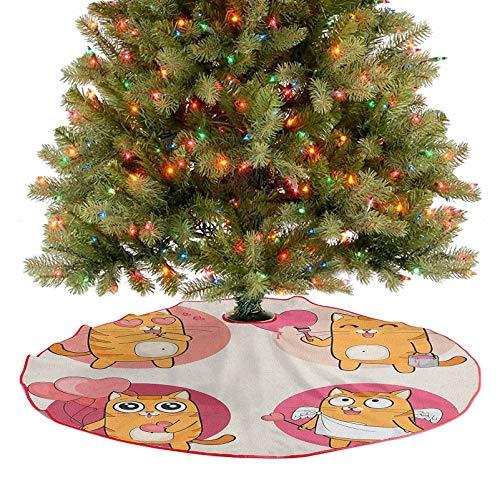 Homesonne Falda rústica para árbol de Navidad con dibujos animados, gatos, ilustración de gatito enamorado, pintura un corazón que lleva globos románticos para fiestas navideñas, multicolor, 91,4 cm