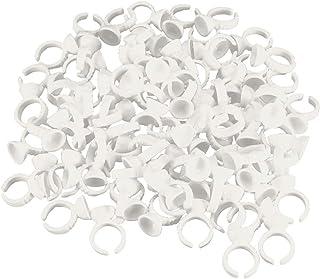 Beaupretty 500 peças de anéis de pigmento descartáveis, limpos, ABS, suporte de maquiagem, recipientes de tatuagem, anéis ...