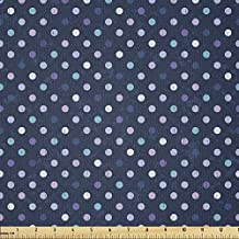 Lunarable Navy Blue Fabric by The Yard, Polka Dots 50s 60s Pattern for Nursery Room Spots Art Design, Stretch Knit Fabric for Clothing Sewing and Arts Crafts, 3 Yards, Blue