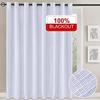 Rose Home Fashion 100% Blackout Curtains, Double Layer Patio Door Curtains with Thermal Insulated Liner, Grommet Curtains Sliding Glass Door Curtains-1 Panel, 102x84 White