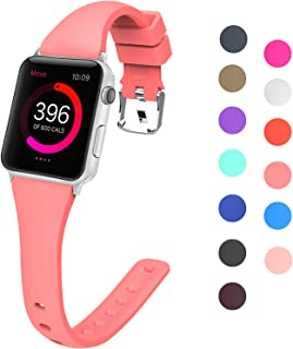 Lwsengme Compatible with Apple Watch Band 38MM 42MM 40MM 44MM, Choose Color-Slim Rubber Sport Bands for iWatch Series 4, Series 3, Series 2, Series 1