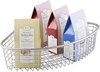 mDesign Farmhouse Metal Kitchen Cabinet Lazy Susan Storage Organizer Basket with Front Handle - Large Pie-Shaped 1/4 Wedge, 4.4